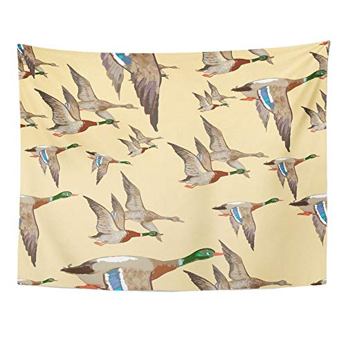 SPXUBZ Wall Tapestry Hunting Flying Wild Ducks Pattern 1 Animal Bird Flight Nature Sky Wing Wall Hanging Decoration Soft Fabric Tapestry Perfect Print for House Rooms