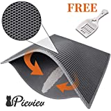 """Pieviev Cat Litter Box Mat Litter Trapper of Jumbo Size 30"""" X 24"""", Honeycomb Double-Layer Design Waterproof Urine Proof Material, Easy Clean and Floor Carpet Protection (Grey)"""