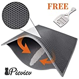 Pieviev Cat Litter Mat Anti-Tracking Litter Mat, 30' X 24' Inch Honeycomb Double Layer Waterproof Urine Proof Trapping Mat for Litter Boxes, Large Size Easy Clean Scatter Control(Grey)