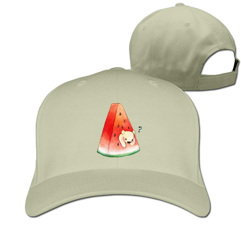 Men and Woman A Slice of Watermelon and A Cute Bear Adjustable Comfortable Cotton Common Cap