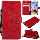 Galaxy S6 Case, UNEXTATI Galaxy S6 Flip Folio PU Leather Wallet Case with Magnetic Closure for Samsung Galaxy S6 (Red #6)