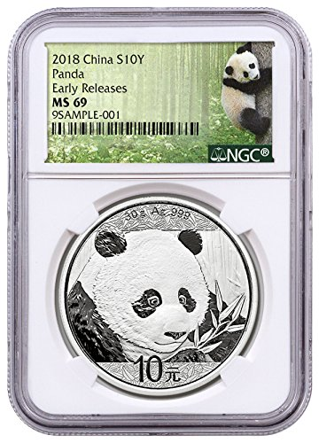 2018 CN 30 g Silver Panda - 35th Anniversary ¥ Coin ER Ex ¥10 MS69 NGC (Coin Ngc 10)