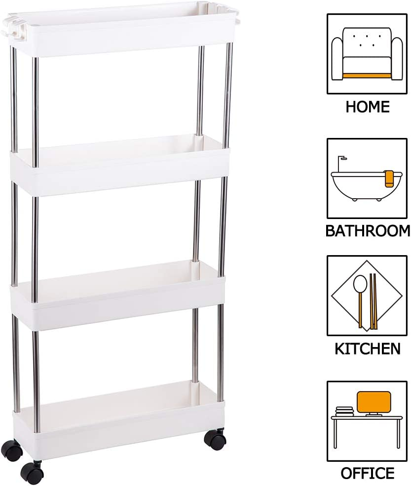FIRECOW 4 Tier Slim Storage Cart Mobile Shelving Unit Organizer, Gap Storage Slim Slide Out Pantry Storage Rack for Kitchen Bathroom Laundry Narrow Places, White