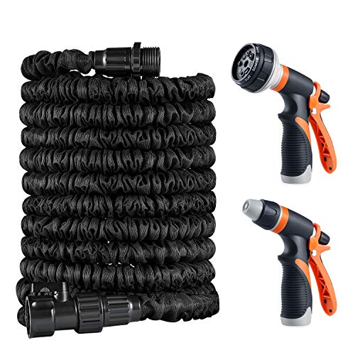 Expandable Garden Hose, Treatlife Flexible 50 feet Water Hose with Double Latex ON/OFF Valve Non-leaking-Retractable Hose with 2 Adjustable Watering Patterns Spray Nozzle