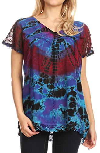(Sakkas 17787 - Josea Relaxed Fit Tie Dye Embroidered Crepe Cap Sleeve Blouse | Cover Up - Purple - OSP)