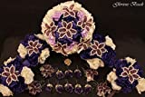 Purple and Ivory Beaded Lily Bridal Wedding Flower 18 piece set with Peonies and Roses~ Unique French beaded flowers. Includes Bouquets Corsages and Boutonnieres