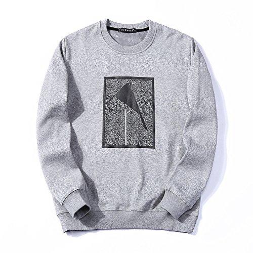 T - Shirt - Hoodies - Winter, Leiter des männer - t - Shirt warme Pullover,Grau,XL
