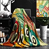 Unique Custom Flannel Blankets Vintage Decor Bingo Game With Ball And Cards Pop Art Stylized Lottery Hobby Celebration Theme Super Soft Blanketry for Bed Couch, Twin Size 60'' x 80''
