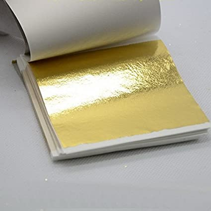 50 Sheets 9 * 9cm 24K Pure Genuine Edible Gold Leaf Foil Sheet 99.99% Gold Food Decoration Hi2deals 8.42