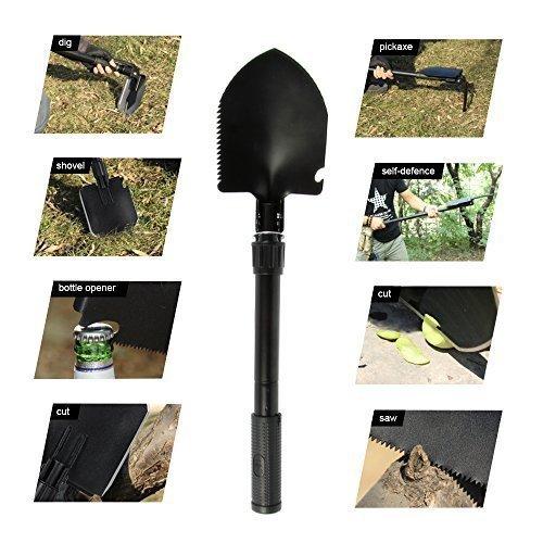 UVISTAR Mini Schaufel Leicht Set, Klappspaten Kompass Hacke Säge mit Tasche, Mutifunktion Rostfrei, Praktisches Mutitool für Outdoor Camping Garten Schwarz ( Klein )