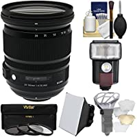 Sigma 24-105mm f/4.0 ART DG OS HSM Zoom Lens with 3 UV/CPL/ND8 Filters + Flash + Soft Box + Diffuser Kit for Nikon Digital SLR Cameras