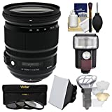 Sigma 24-105mm f/4.0 ART DG OS HSM Zoom Lens with 3 UV/CPL/ND8 Filters + Flash + Soft Box + Diffuser Kit for Nikon Digital SLR Cameras