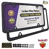 Kyпить PUQIN-AUTO License Plate Frame Carbon Fiber Printed Pattern, Slim Aluminum License Plate Frames, Black Licenses Plates Frame (Carbon Fiber License Frame-4 Holes 2PCS) на Amazon.com