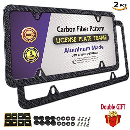 PUQIN-AUTO License Plate Frame Carbon Fiber Printed Pattern, Slim Aluminum License Plate Frames, Black Licenses Plates Frame (Carbon Fiber License Frame-4 Holes 2PCS)