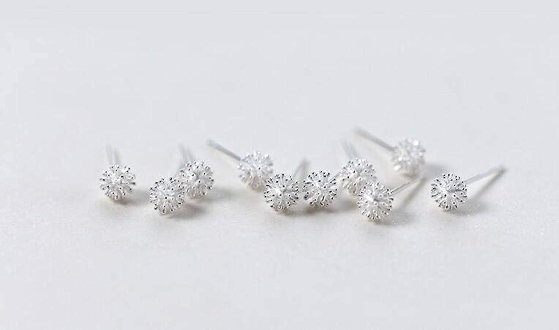 S925 Silver Pair S925 Silver Earrings Women/'S Japanese and Korean Style Natural Sweet Dandelion Earrings Temperament Ball Sweet Ear Jewelry LOt 925 Silver