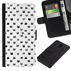 All Phone Most Case / Oferta Especial Cáscara Funda de cuero Monedero Cubierta de proteccion Caso / Wallet Case for Samsung Galaxy Note 4 IV // Pattern Cats White Grey Cute Cat