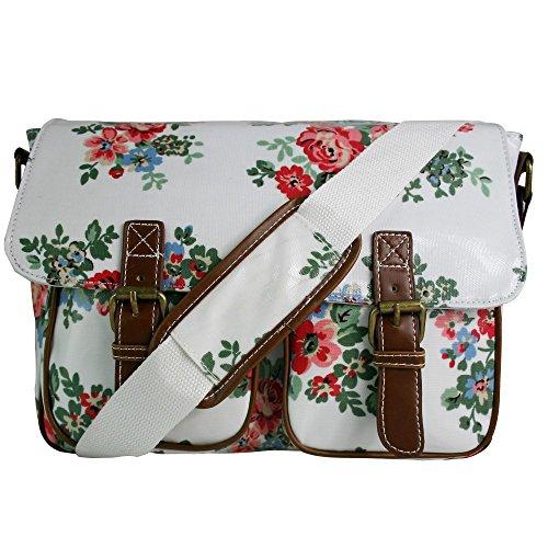 Miss Lulu Oilcloth Prints Satchel Messenger Shoulder School Bag (Flower White)