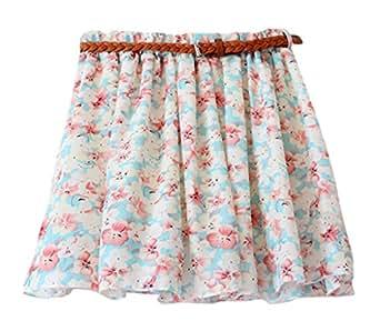 Womens Girl Floral Summer Short Princess Skirt with Belt (PEACH-LIGHT BLUE)