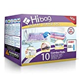 Hibag Space Saver Bags, Vacuum Storage Bags, 10-Pack Vacuum Seal Bags (2 Jumbo, 2 Large, 2 Medium, 2 Small, 2 Roll-up) with Pump (10-Combo)
