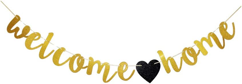 Welcome Home Banner, Home Party Sign Decors, Gold Family Theme Party Bunting Props Supplies