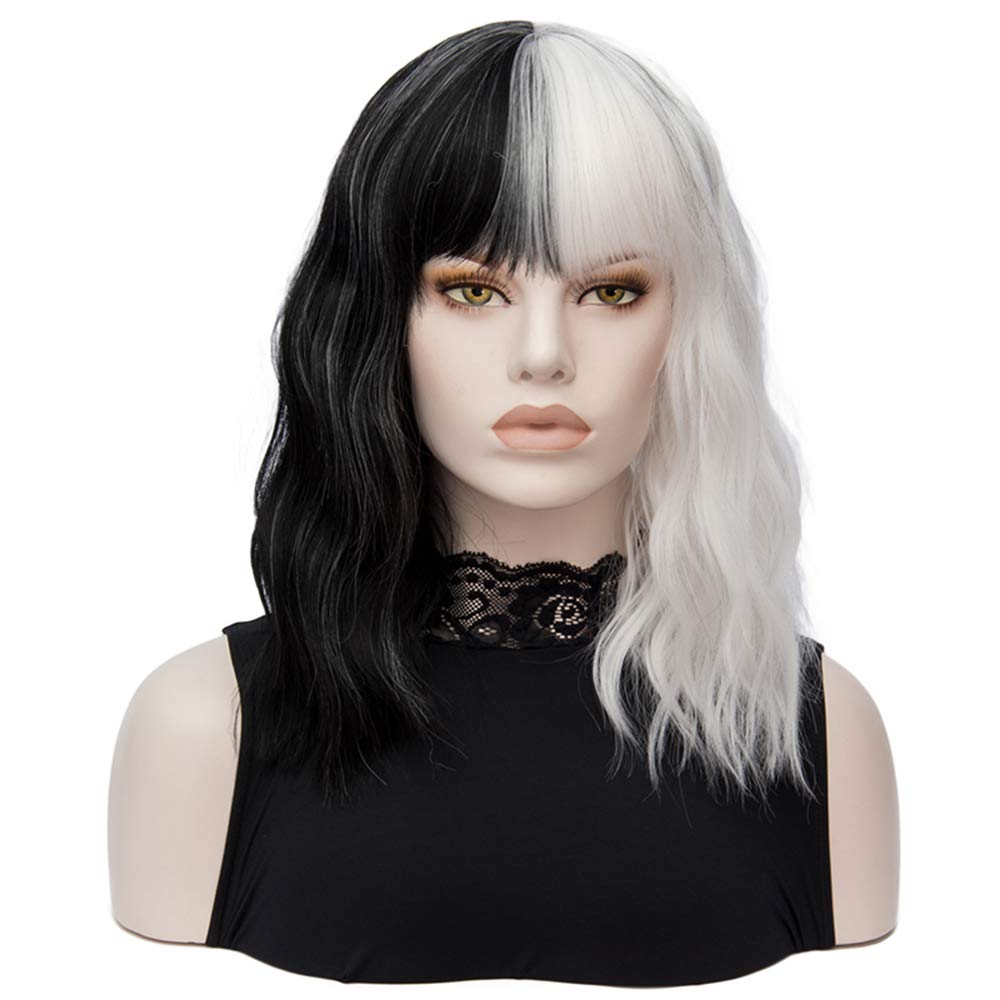 Bar883ba Elegant Wave Curly Hair Short Wigs for Halloween Cosplay Women Synthetic Hair Wig Black White 2 Tones Patchwork Cosplay Wigs Wavy Curly Wigs