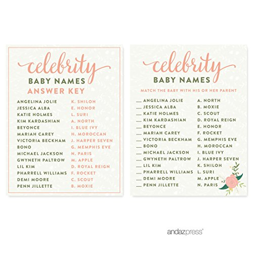Andaz Press Floral Roses Girl Baby Shower Collection, Games, Activities, Decorations, Celebrity Name Game Cards, 20-pack