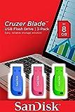 Sandisk Cruzer Blade Pen Drive, 8GB, Kit di 3 Pezzi, Blu/Rosa/Verde