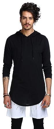 Whatlees Herren Urban Basic reguläre Passform lang arm Langes T-shirt mit  Kapuzer und seitlichen