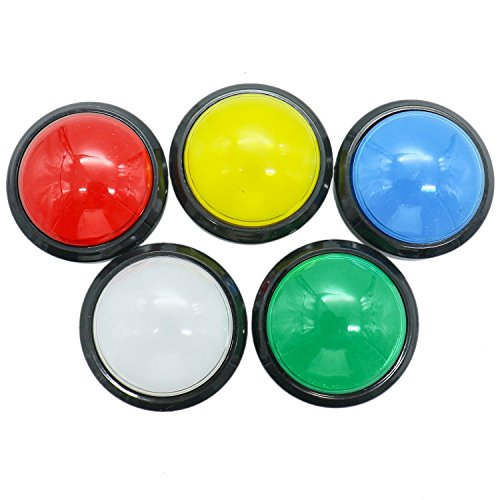 IDS Pack of 5 60mm Dome Shaped LED Illuminated Push Buttons for Arcade Coin Machine Operated Games