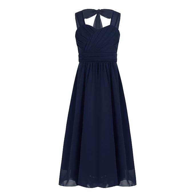 iEFiEL Vestido Largo de Gasa Niña Vestidos Comunion Chica Traje de Ceremonia Elegente Vestido de Boda