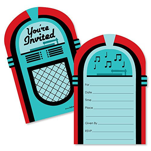 50's Sock Hop - Shaped Fill-in Invitations - 1950s Rock N Roll Party Invitation Cards with Envelopes - Set of 12