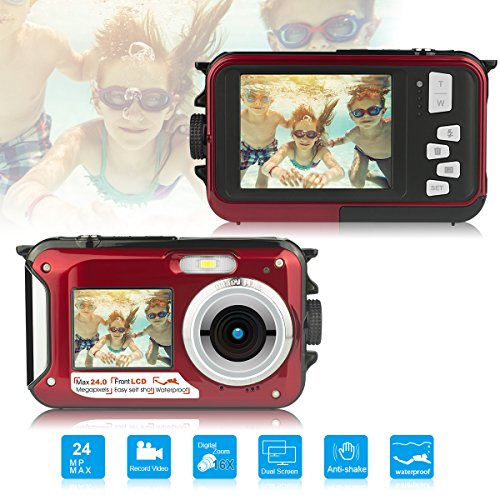 Digital Point - Waterproof Underwater Digital Camera,24MP 1080P Dual Screen Point and Shoot Digital Video Recorder Cameras-Red