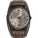 All Blacks - 680209 - Montre Homme - Quartz Analogique - Cadran Gris - Bracelet Cuir Marron