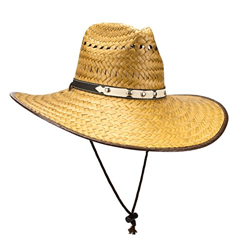 Rising Phoenix Super Wide Brim Cowboy Lifeguard Hat, Large Palm Leaf Straw Sun Cap, Flex Fit, Chin Strap (Cowboy) (Flex Cap Fit Rising)