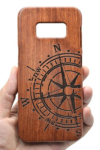 VolksRose Samsung Galaxy S8 Wooden Case - Rosewood Compass - Premium Quality Natural Wood Cover for Your Smartphone