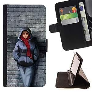 BullDog Case - FOR/Apple Iphone 5C / - / Badass Steet Girl /- Monedero de cuero de la PU Llevar cubierta de la caja con el ID Credit Card Slots Flip funda de cuer