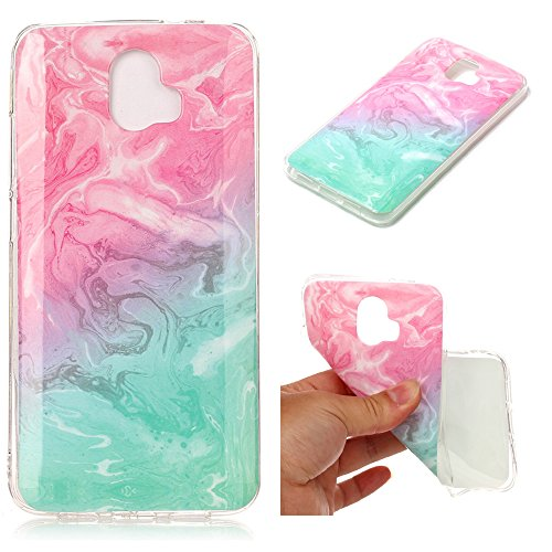 XYX ZTE Blade V8 Pro Case,ZTE Z978 Marble Case,[Marble Pattern] Slim Shockproof Flexible TPU Soft Rubber Silicone Skin Cover for ZTE Blade V8 Pro/Z978 - Pink Green