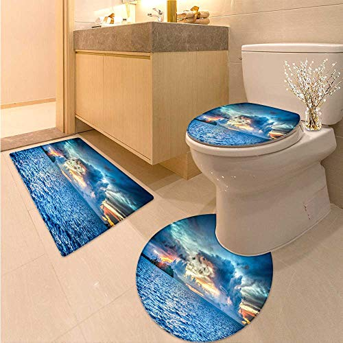 - Miki Da Non Slip Bath Shower Rug Sunset in Bora Bora Custom Made Rug Set