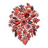 Large Diamond Rhinestone Crystal Flower Floral Brooch Big Pin For Women (Red)