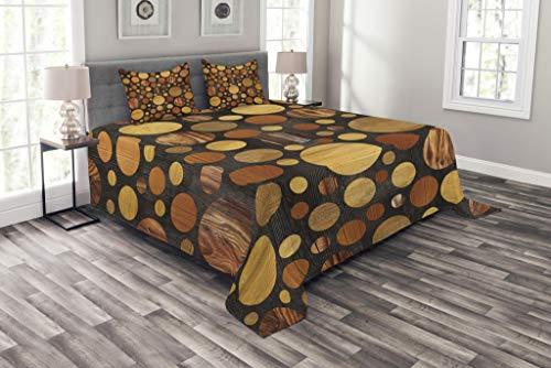 Ambesonne Wooden Bedspread Set King Size, Brown Wood, used for sale  Delivered anywhere in USA