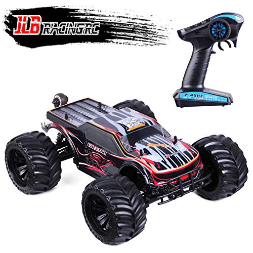 JLBRACINGRC 1/10 Scale Remote Control Truck 80KM/H Super Speed 4WD 2.4GHZ RC Monster Truck 4x4 Off Road Waterproof RTR Brushless Electric Radio Controlled Toy RC Racing Car for Adults with 120A ESC