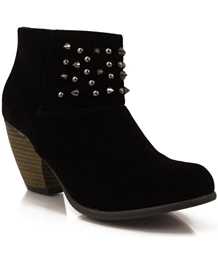 Priority-46 Velvet Studded Cowboy Ankle Bootie BLACK