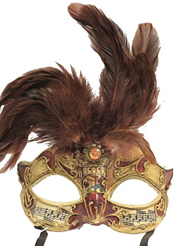 Hagora, Men's Opera Phantom Bronze And Gold Tone Combined Mask With Feathers