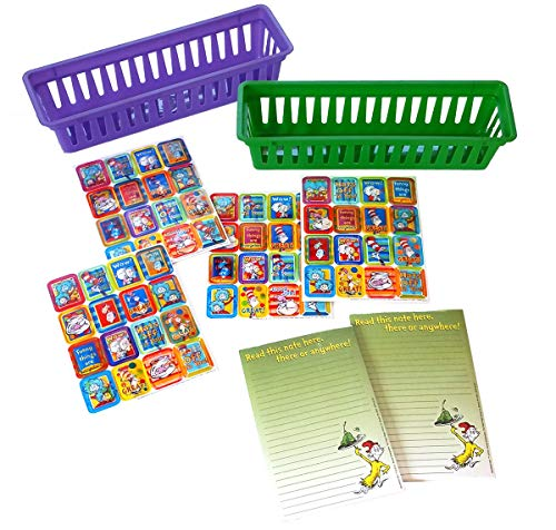Green Notepad Set - Dr Seuss-Themed Teacher Resource Stationary Supply Set with Green Eggs and Ham Notepads, 3D Lenticular Dr. Seuss Stickers and 2 Bonus Classroom Pencil and Marker Baskets Supplies (6 Piece Set)