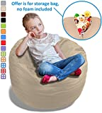 Stuffed Animal Bean Bag Storage Chair in Sand Dune Beige - 2.5ft Large Fill & Chill Space Saving Toy Organizer for Children - For Blankets, Teddy Bears, Clothes & Bedding