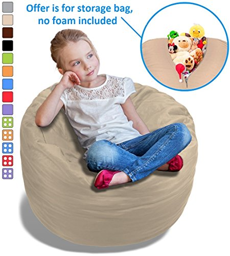 Stuffed Animal Bean Bag Storage Chair in Sand Dune Beige - 2.5ft Large Fill & Chill Space Saving Toy Organizer for Children - For Blankets, Teddy Bears, Clothes & Bedding by BeanBob
