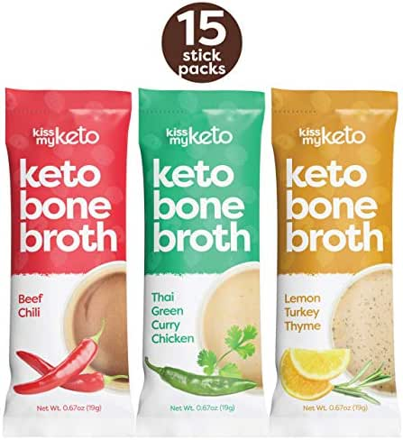 Kiss My Keto Bone Broth Powder Travel Packets — Collagen Protein (9g) + MCT Oil, 18 Amino Acids | Low Carb Variety (15 Pack) Turkey, Chicken & Beef | Instant Bone Broth Soup — Single Servings
