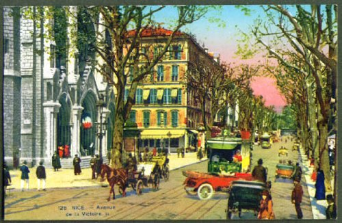 Ave Victoire Nice France trolley postcard