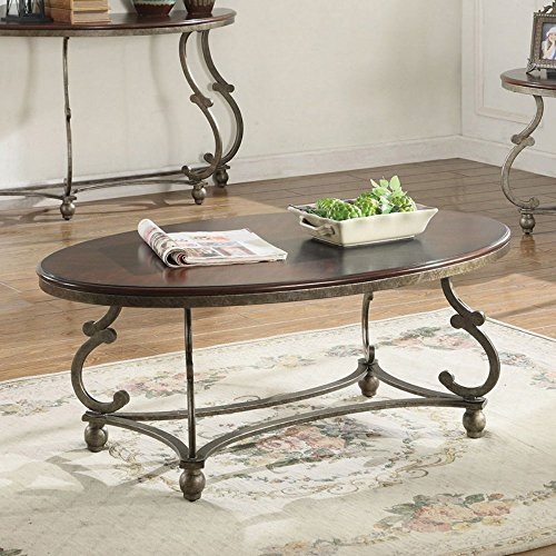Pewter Coaster (Coaster Oval Coffee Table in Cherry Brown and Antique Pewter)