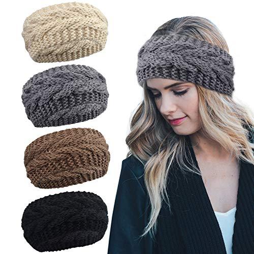 DRESHOW Crochet Turban Headband for Women Warm Bulky Crocheted Headwrap